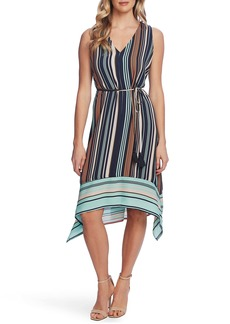Vince Camuto Stripe Sleeveless Tie Waist Dress