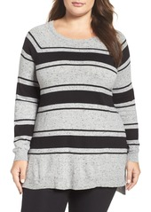 Vince Camuto Stripe Speckled Sweater (Plus Size)