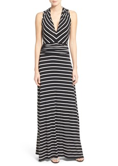 Vince Camuto Stripe V-Neck A-Line Maxi Dress (Regular & Petite)