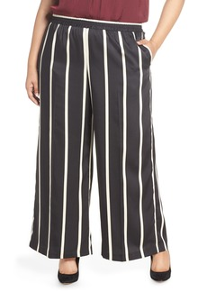 Vince Camuto Stripe Wide Leg Satin Pants (Plus Size)