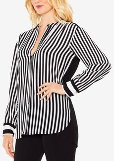 Vince Camuto Striped Band-Collar Tunic Shirt