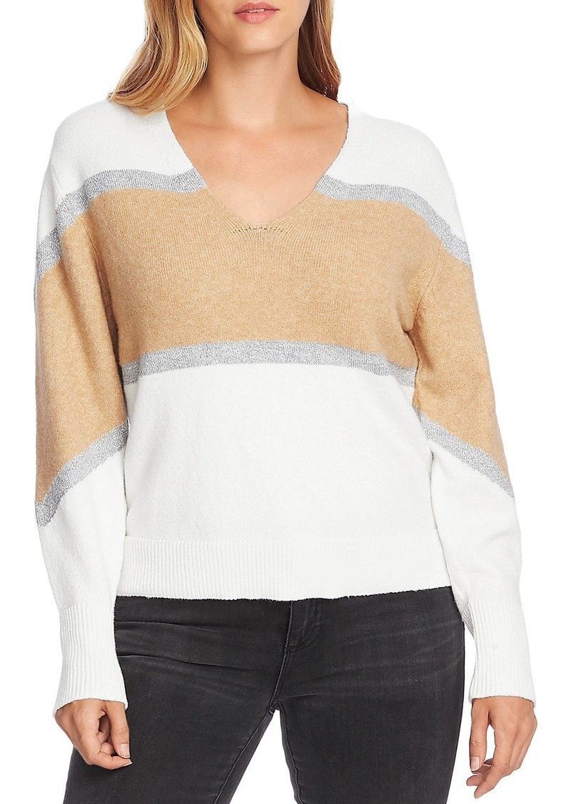 VINCE CAMUTO Striped Bubble-Sleeve Sweater