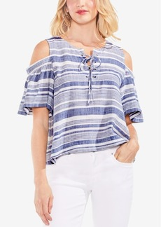 Vince Camuto Striped Cold-Shoulder Lace-Up Top