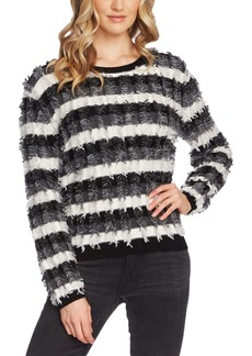 Vince Camuto Striped Cotton Fringe-Trim Sweater