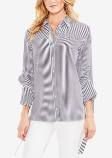 Vince Camuto Striped Drawstring-Sleeve Button-Down Shirt