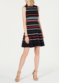 Vince Camuto Striped Fit & Flare Sweater Dress