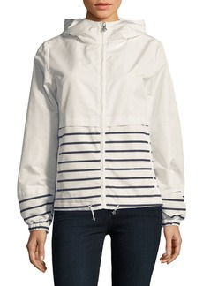 Vince Camuto Striped Hooded Windbreaker