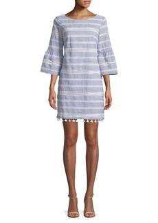 Vince Camuto Striped Lace-Trimmed Cotton Shift Dress