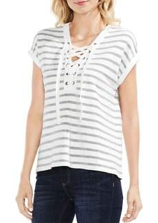 VINCE CAMUTO Striped Lace-Up Top