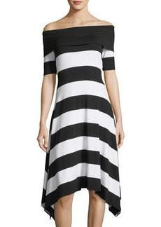 Vince Camuto Striped Off-the-Shoulder Dress