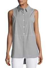 Vince Camuto Striped Poplin Sleeveless Blouse