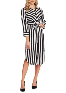 Vince Camuto Striped Tie-Front Shirtdress