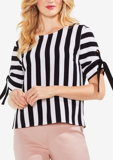 Vince Camuto Striped Tied-Sleeve Top