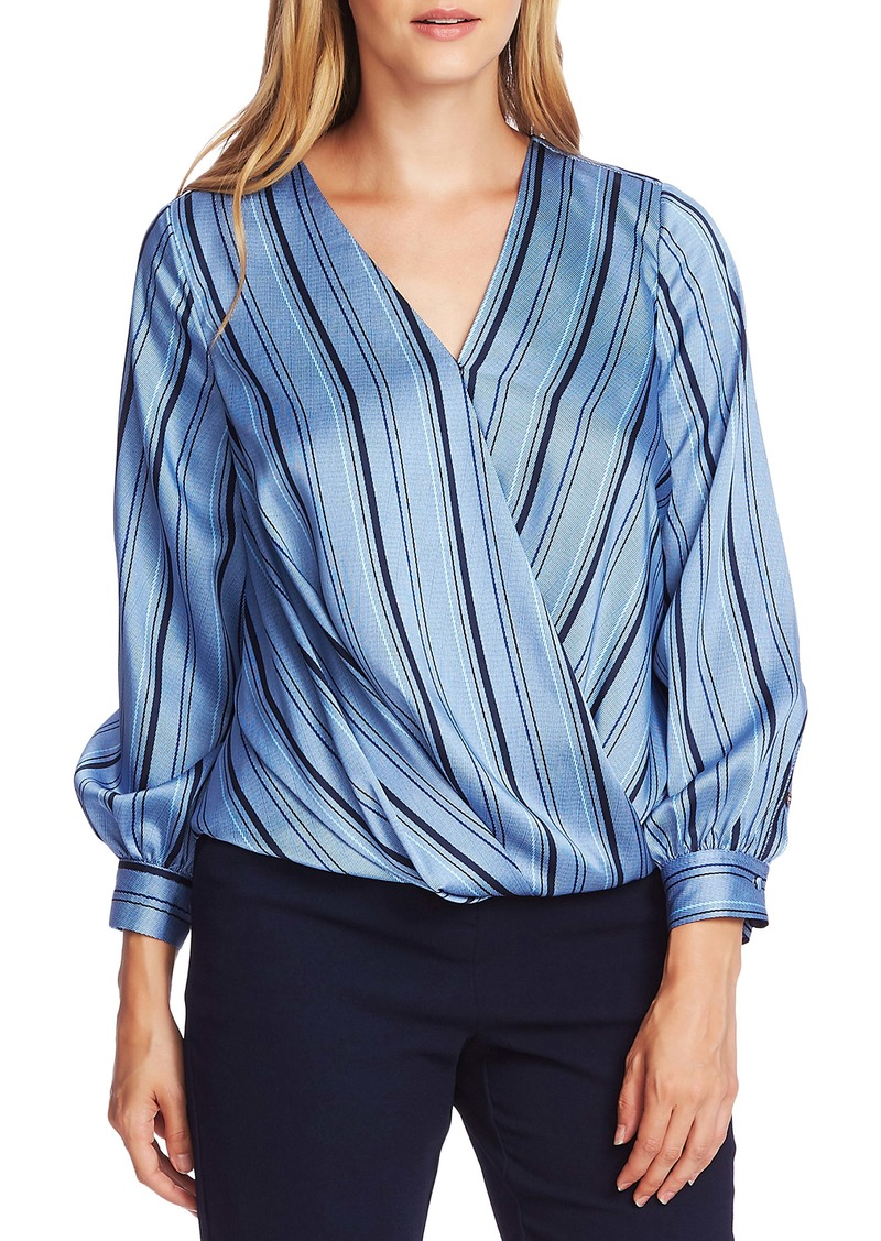 Vince Camuto Stripey Interludes Wrap Front Top
