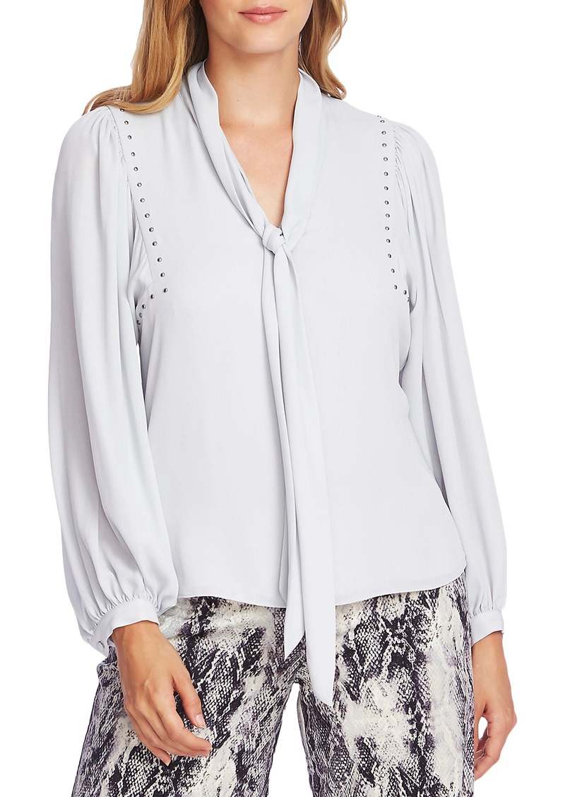 Vince Camuto Stud Detail Tie Neck Long Sleeve Georgette Blouse