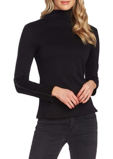Vince Camuto Stud Faux Leather Detail Top