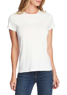 Vince Camuto Studded Grosgrain Yoke Short Sleeve Tee