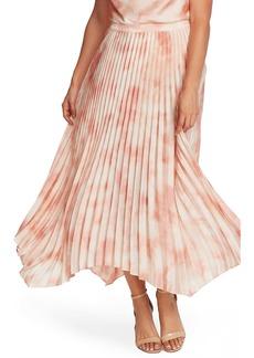 Vince Camuto Surreal Garden Handkerchief Hem Pleated Skirt