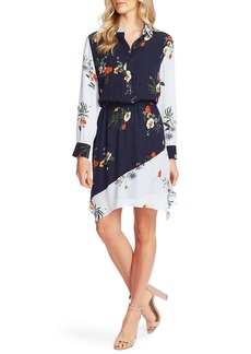 Vince Camuto Surreal Garden Long Sleeve Asymmetrical Dress
