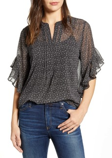 Vince Camuto Sweet Calico Flutter Sleeve Top