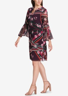 Vince Camuto Floral Tassel-Tie Bell Sleeve Shift Dress