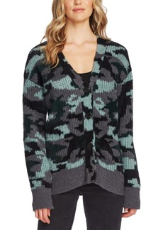 Vince Camuto Textured Camo Cardigan Sweater