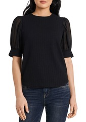 VINCE CAMUTO Textured Knit Mixed Media Top