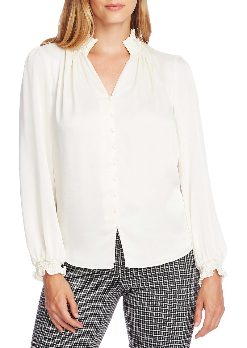 Vince Camuto Textured Smock Detail Long Sleeve Blouse