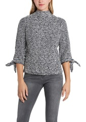 Vince Camuto Textured Tie Cuff Cotton Blend Top