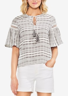 Vince Camuto Textured Tie-Neck Cotton Top