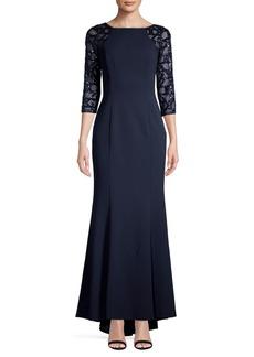 Vince Camuto Three-Quarter Raglan-Sleeve Sequin Gown