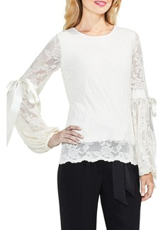 Vince Camuto Tie Cuff Bubble Sleeve Floral Lace Top