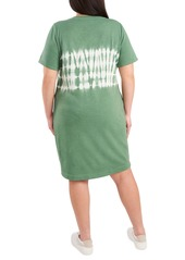 Vince Camuto Tie Dye Stripe Short Sleeve T-Shirt Dress (Plus Size)