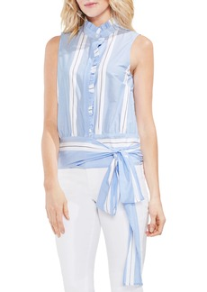 Vince Camuto Tie Front Ruffle Sleeve Cotton Blouse