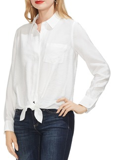 VINCE CAMUTO Tie-Front Textured Blouse