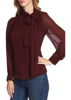 Vince Camuto Tie Neck Long Sleeve Chiffon Blouse