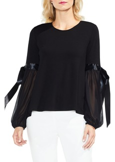 Vince Camuto Tie Sleeve High/Low Chiffon Mix Top