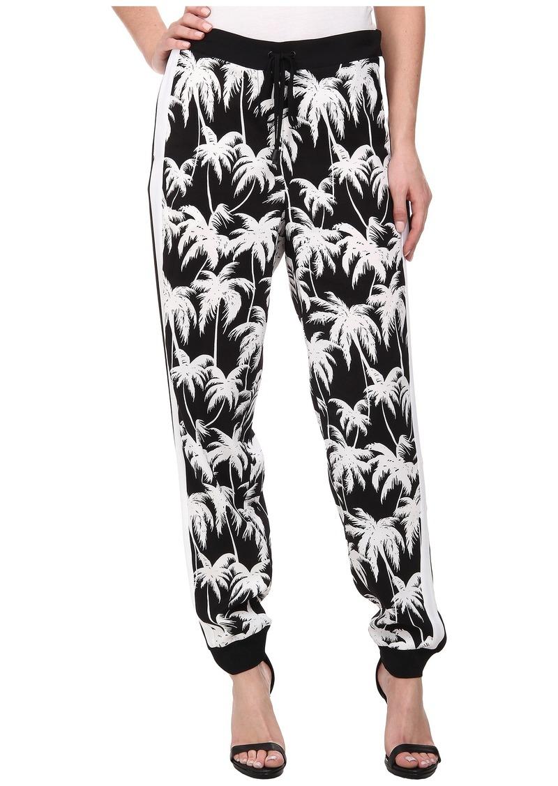 Vince Camuto Tie Waist Slim Leg Palm Track Pants