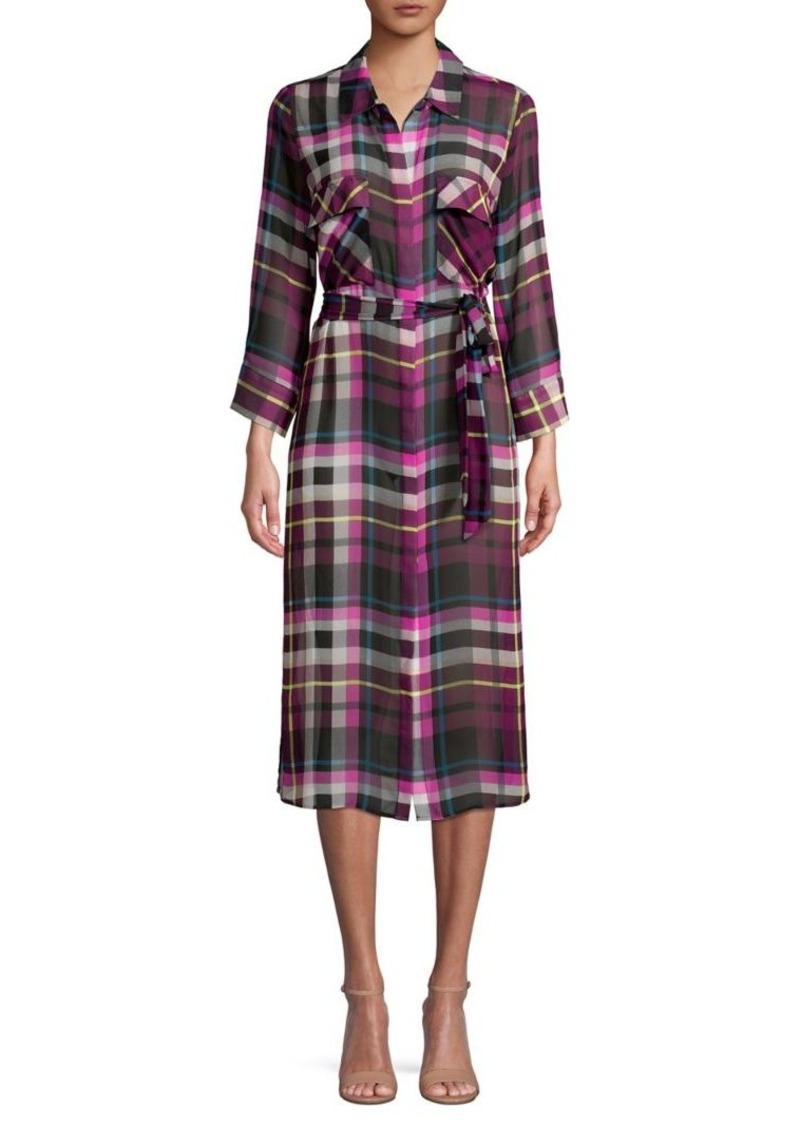 Vince Camuto Tied Plaid Shirt Dress