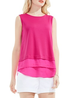 Vince Camuto Tiered Mixed Media Top