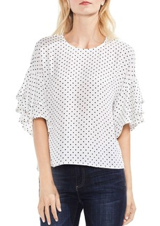 VINCE CAMUTO Tiered Ruffle Sleeve Poetic Dot Blouse
