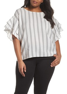 Vince Camuto Tiered Ruffle Sleeve Stripe Blouse (Plus Size)