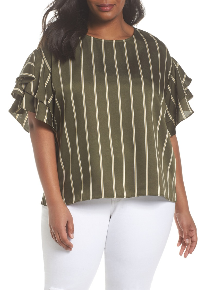1a6119858fe4f Vince Camuto Vince Camuto Tiered Ruffle Sleeve Stripe Top (Plus Size ...