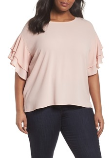 Vince Camuto Tiered Ruffle Sleeve Top (Plus Size)