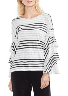 Vince Camuto Tiered Sleeve Block Stripe Top