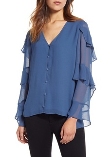 Vince Camuto Tiered Sleeve Chiffon Blouse