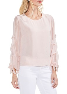 Vince Camuto Tiered Sleeve Metallic Clip Dot Blouse