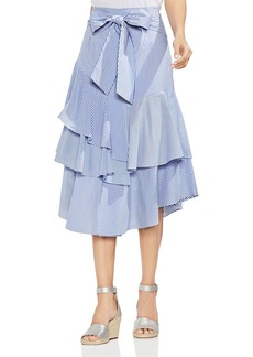 VINCE CAMUTO Tiered Striped Midi Skirt