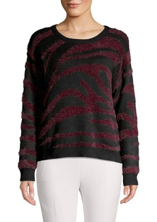 Vince Camuto Tiger-Print Cotton-Blend Sweater