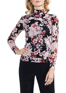 Vince Camuto Timeless Blooms Mock Neck Top
